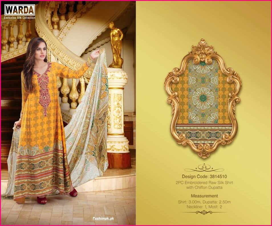 2PC Embroidered Raw Silk With Shafoon Dupatta-3 warda latest fall winter christmas dresses collection Warda Latest Fall Winter Christmas Dresses Collection 2PC Embroidered Raw Silk With Shafoon Dupatta 3