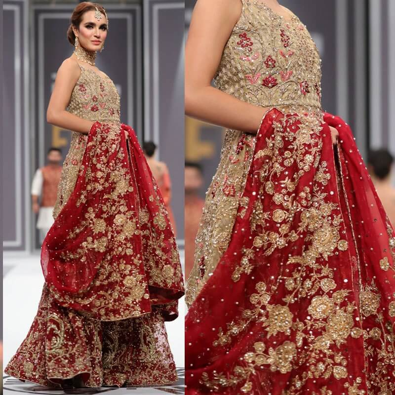 five designs from fpw day 3 love to wear to winter weddings Five Designs from FPW Day 3 love to wear to Winter Weddings Saira Rizwans red and gold lehenga